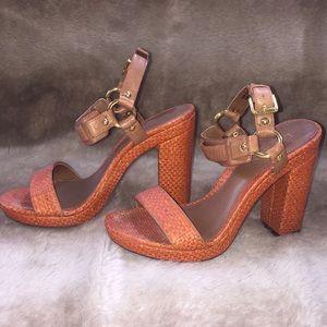 Orange/tan leather and straw heels-Ralph Lauren